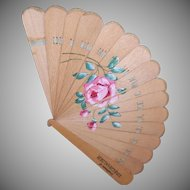 Antique HAND PAINTED Fan - Advertising, Pink Rose, Compliments, Kriegshauser, St. Louis, Mo