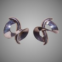 Vintage Sterling Silver Earrings by BAYANIHAN - Modernist Design, Pierced, Posts with Nuts