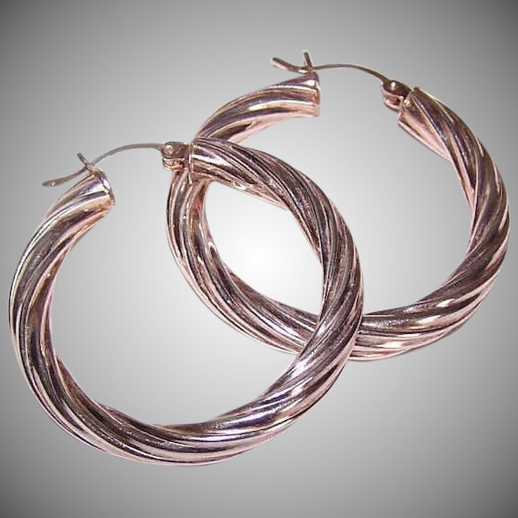 Vintage STERLING SILVER Earrings - Twisted Wire, Hoops, Hoop ...