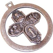 Vintage STERLING SILVER Medal - Religious, 4-Way, Pendant, Round