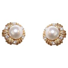 ESTATE 18K Gold, .24CT TW Diamond & 6.8mm Cultured Pearl Earrings for Pierced Ears (Posts with Nuts)!