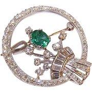 ART DECO Platinum, .50CT TW Emerald & 2.04CT TW Diamond Pin - Circular with Stylized Design at Center!