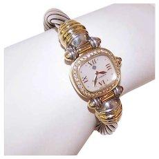Estate DAVID YURMAN 18K Gold, Sterling Silver & Diamond 6.7mm Cable Watch Bracelet!