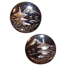 Vintage STERLING SILVER Cufflinks -  Niello, Round, Scenic, Pagoda, Mount Fuji, Made in Japan