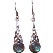 Vintage STERLING SILVER & Abalone Drop Earrings - Celtic Design!