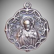 Vintage STERLING SILVER Religious Medal - Sacred Heart of Jesus/Virgin & Child!