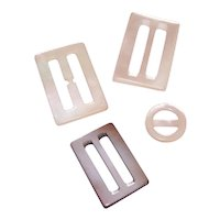4 Vintage Mother of Pearl Sash Buckles