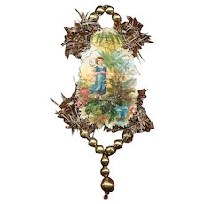 VICTORIAN REVIVAL Christmas Ornament - Victorian Die Cut, Tinsel, Glass Beads - Child in Garden!
