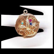 Vintage 14K Gold Photo Locket - Photo Pendant or Container Charm - Basket of Flowers Front!