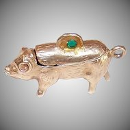 Adorable VINTAGE 14K Gold Mechanical Charm - Pig with a Secret Compartment - Latches Securely!