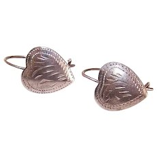 Vintage STERLING SILVER Earrings - Hearts, Lightly Etched, Pierced, Earwires
