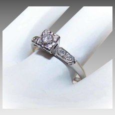Vintage 14K Gold Engagement Ring - Retro Modern, .15CT,  Diamond, .04CT TW Shoulder Stones