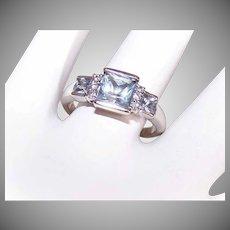 Vintage 10K Gold Ring - 2.14CT TW, Blue Tourmaline, Diamond, Engagement Ring, Fashion Ring