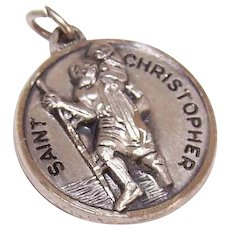 Vintage STERLING SILVER Charm - Religious, Medal, Creed, Saint Christopher, St Christopher