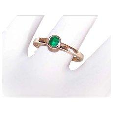 Vintage 14K Gold Ring - Green, Tourmaline, Stacker, Ring, Engagement, Band
