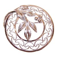 Van Dell Sterling Silver Filigree Round Pin Leaf and Berries