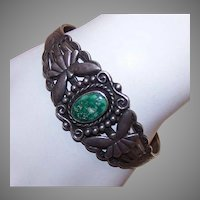 Old Pawn Sterling Turquoise Cuff Bracelet