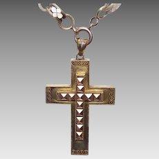 Exquisite ANTIQUE VICTORIAN 14K Gold Crusader Cross/Religious Cross - Etruscan Design!
