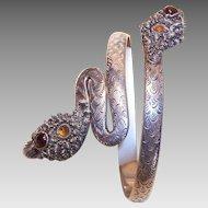 Fabulous 800/900 SILVER & Gemstone Snake Arm Band/Arm Bracelet!