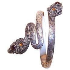 Vintage 800 Silver Gemstone Arm Bracelet Snake Design