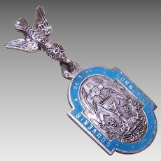 "Dated 1889 FRENCH SILVER & Enamel ""Saint Esprit"" First Communion Pendant!"