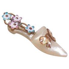 ANTIQUE VICTORIAN Gilt Brass Charm - Mother of Pearl, Enamel, Ladies, Shoe