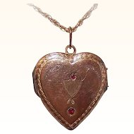 ANTIQUE EDWARDIAN Gold Filled & Red Rhinestone Heart Locket Pendant!