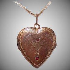 ANTIQUE EDWARDIAN Gold Filled & Red Rhinestone Heart Locket Pendant!