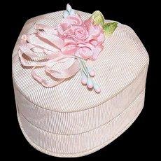 Vintage MOIRE TAFFETA Ring Box from St. Louis, MO - Silk Ribbon Rose Top!
