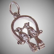 Vintage STERLING SILVER Mechanical Charm - Two Love Birds on a Swing!