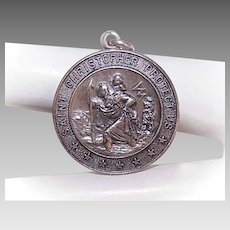 Vintage STERLING SILVER Charm -  Religious, Medal, Pendant, Saint Christopher, St Christopher
