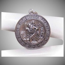 Vintage STERLING SILVER Charm -  Religious, Medal, Pendant, Saint Christopher, St Christopher