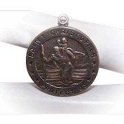 Vintage STERLING SILVER Pendant -  Religious, Medal, Charm, Saint Christopher, St Christopher, Chapel