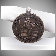 Vintage STERLING SILVER Pendant -  Religious, Medal, Charm, Saint Christopher, St Christopher, Chapel