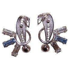 Vintage STERLING SILVER Earrings - 1950s, Retro Modern, Rhinestone, Filigree, Screwbacks