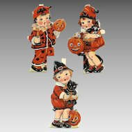 RARE! 3 Diff C.1930 Made in Germany HALLOWEEN Die Cuts - Children Dress in Halloween Costume!
