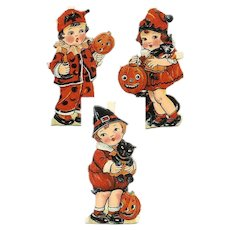 RARE! 3 Diff C.1930 Made in Germany HALLOWEEN Die Cuts - Children Dress in Halloween Costume! - Red Tag Sale Item
