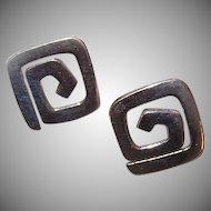 Vintage STERLING SILVER Earrings (Posts with Nuts) - Retro Modern Design!