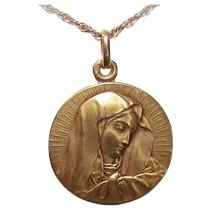 Vintage FRENCH 18K Gold Medal - Religious, Pendant, Charm, Mater Dolorosa, Our Lady of Sorrows, Virgin Mary