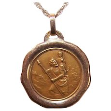 C.1930 FRENCH 18K Gold Religious Medal - Saint Christopher * St Christopher!