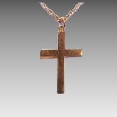 Vintage 18K GOLD Cross - Religious, Plain, No Engraving, Made in Far East
