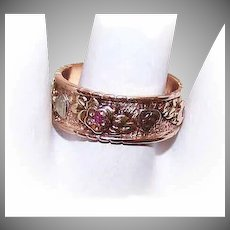 Modernist 14K GOLD Ring - Tri Gold, Wedding, Cigar, Band, Ruby, Hearts, Flowers, Size 8-1/2