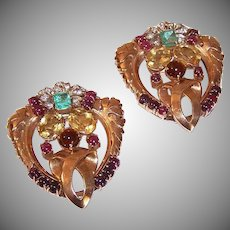 Pair ART DECO 14K Gold & Gemstone Dress Clips or Necklace Clips - 21.55CT TW of Diamonds, Emeralds & Rubies