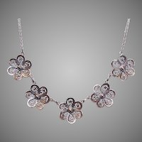 Vintage 830 SILVER Chain Necklace with Filigree Daisies!