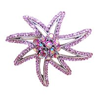 Unsigned Pink Rhinestone Stylized Starfish Pin Brooch