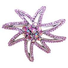 Unsigned Pink Rhinestone Stylized Starfish Pin Brooch