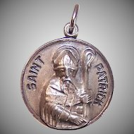 Vintage STERLING SILVER Religious Medal/Religious Charm by Chapel - Saint Patrick - St Patrick!
