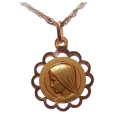 Art Deco FRENCH 18K Gold Religious Medal - Holy Virgin Mary