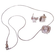 Estate 18K GOLD Jewelry Set - White Gold, Carriere, 1.15CT TW Diamond, Pendant Necklace, Earrings, Pierced