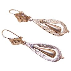 VICTORIAN REVIVAL 14K Gold Earrings - Rose Gold Drop Earrings for Pierced Ears